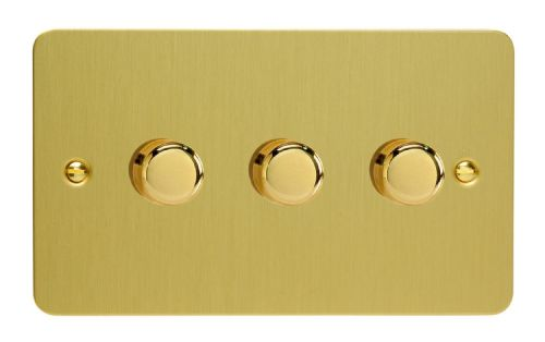 Varilight JFBDP303 Ultraflat Brushed Brass 3 Gang 2-Way Push On/Off LED Dimmer 0-120W V-Pro
